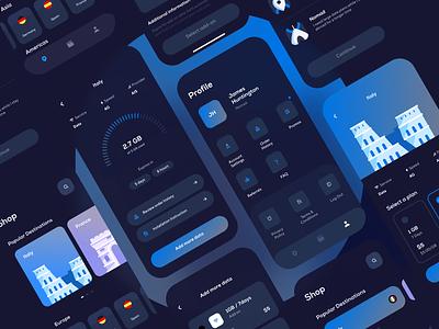 eSIM App - UI Elements traveling productdesign product ux colorful marketplace visual ui template dark theme dark mode dark dark ui clean travel mobile app mobile mobile ui uidesign ui  ux ui
