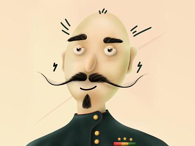 Captain High geometic face design vector mustache bald high captain character design characterdesign character procreate illustration