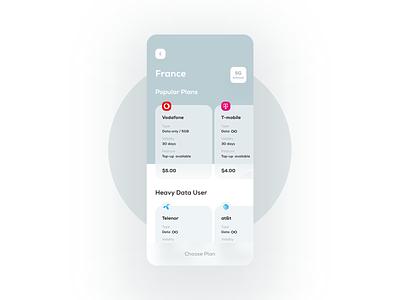 Mobile Data Market Place app mobile app modern traveling page calm design wallet homepage network provider wifi travel app travel data uiux ux ui mobile ui mobile