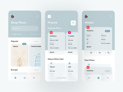Mobile Data Market Place app mobile app modern traveling page calm design wallet homepage network provider wifi travel app travel data uiux ux ui mobile ui mobile