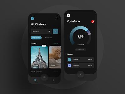Dark UI mobile ui esim progressbar dark app dark ui dark travel ux ui mobile app application app mobile