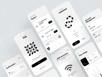 PO8 APP Detailed Wireframe welcome usage uiux mobile ui activation account wireless wifi esim unlimited plan data plan data ux wireframe minimal ui application app mobile