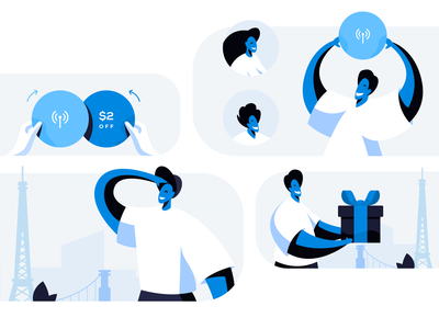 Set of illustrations exchange set character people blue and white blue referral searching looking look promotional share giveaway give gift promo promotion illustrator vector illustration