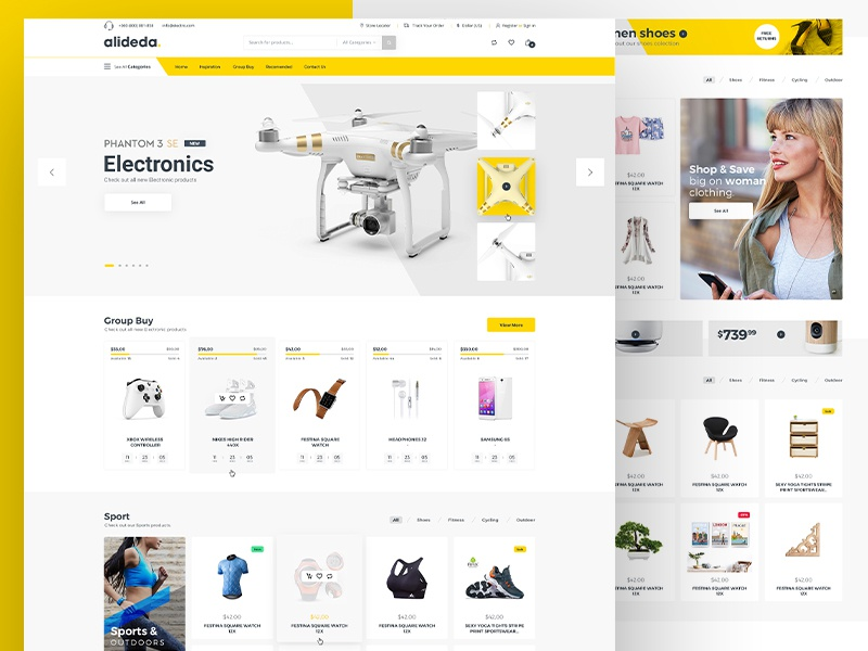 E-commerce shop ecommerce ui landing page home web