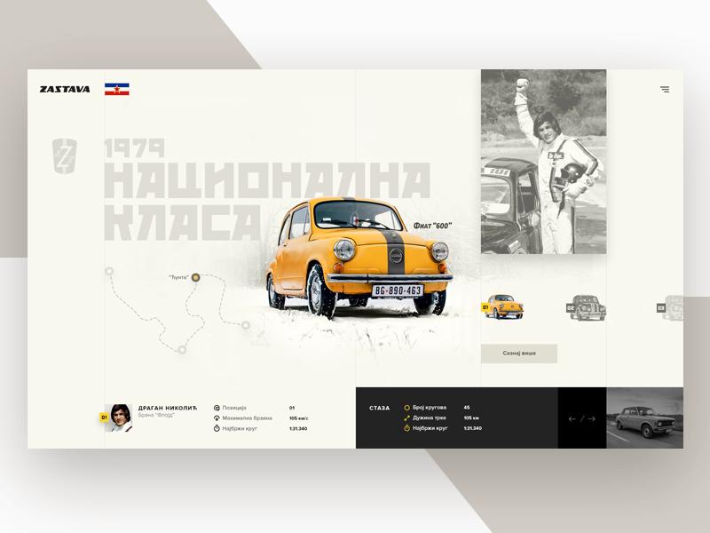 "Vintage Fiat 600 ""Fica"" v2 web design vintage ui srbija nacionalna klasa hero fica fiat car"