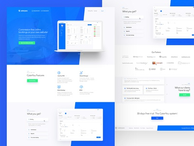 CaterYou Web dashboard booking hotel page home landing design ui web
