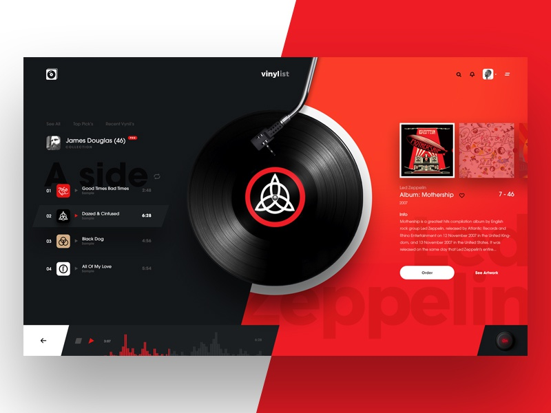 VinyList album cover player list music design concept vinyl ui web