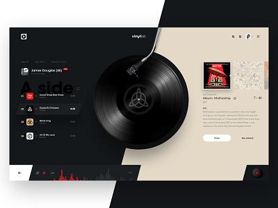 Vinylist v2 album cover player list music design concept vinyl ui web