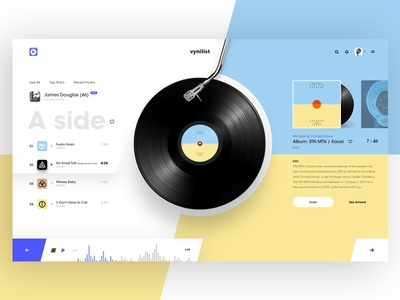 VinyList White Version album cover player list music design concept vinyl ui web