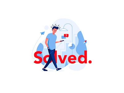 Solved illustration it onboarding illustrating drawing send find solved angry sad confused pin map message meet design vector illustration
