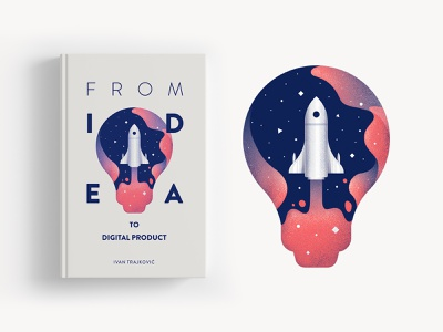 Book cover design icon launch vector typography universe profile head logo product digital illustration negative space book art space idea bulb cover design cover book