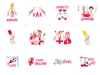 Football Stickers Set red penalty card winner goal ball bounce england world cup message sport sticker design sticker pack sticker set stickers sticker vector illustration soccer football