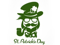 Saint Patricks Day hipster leprechaun with pipe.