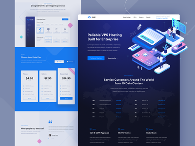 Kube - VPS Hosting Landing Page Exploration computer data center uiux website landing page illustration isometric hero homepage landing vps hosting wordpress kubernetes server