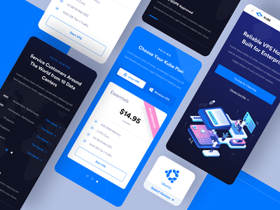 Kube - VPS Hosting Mobile Responsive computer data center uiux website landing page illustration isometric landing vps hosting wordpress kubernetes server uidesign web