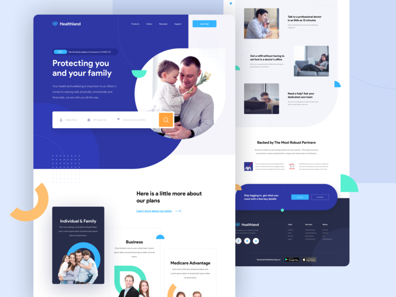 Healthland - Health Insurance Website Exploration medical hospital company insurance company healthcare health insurance blue branding homepage uidesign web uiux website landing page ui