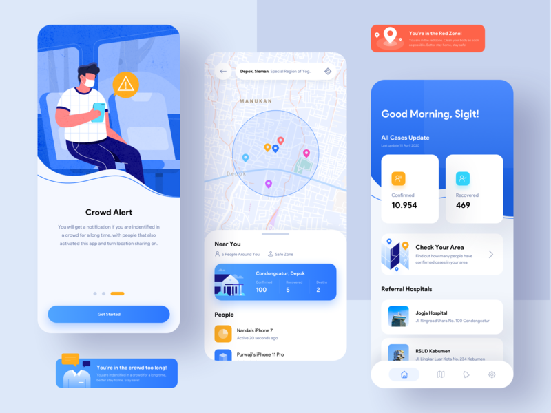 COVID-19 MobileTracker - Care, Protect & Help Stop The Spread work from home stayhome map android app tracker flat illustration blue mobile ui mobile app uidesign ui uiux illustration corona covid19