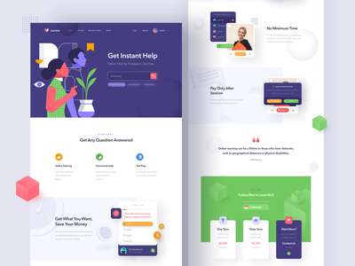 Learnkid - Online Tutoring Landing Page certification teaching learning online course homework website tutoring education 3d homepage uidesign hero illustration illustration ui landing page web
