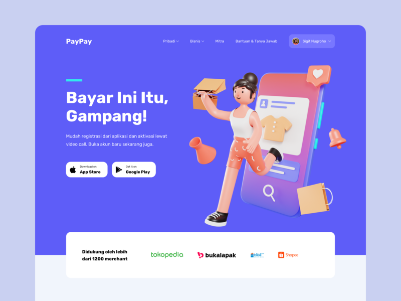 PayPay - Digital Wallet Header 3D Concept header homepage uidesign hero illustration website landing page illustration character digital wallet bank payment blender modelling 3d