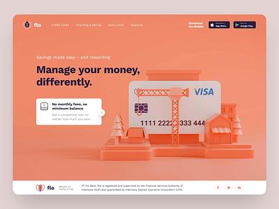 Flo Digital Bank Marketing Website 3D Concept web animation interaction uidesign homepage header hero illustration ui illustration landing page website gateway payment bank blender 3d