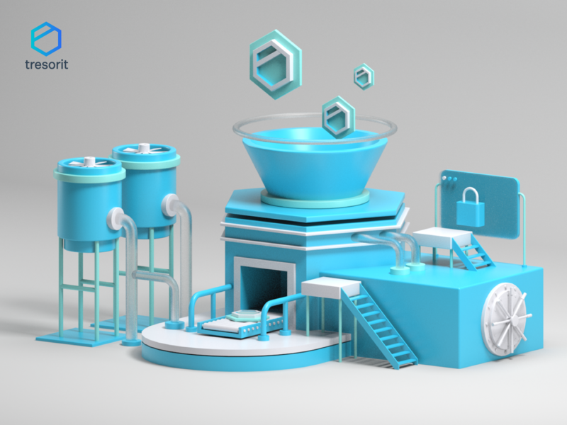 Tresorit Playoff: Encryption Factory website uidesign homepage isometric landing page header hero illustration 3d art cinema4d illustration c4d 3d