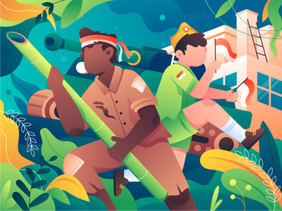 August 17th, Indonesia's Independence Day 🇮🇩 vector flag indonesia hero day hero character celebration independence day header design hero illustration illustration
