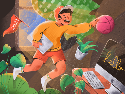 Hello Dribbblers! debut uiux header computer art procreate vector branding design uidesign hero illustration illustration