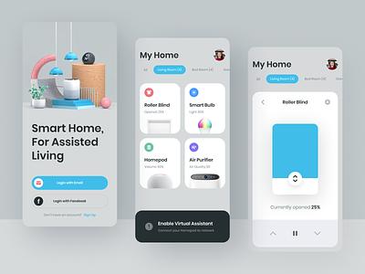 Smart Home Mobile App Concept - Exploration uiux flat illustration 3d illustration prototype motion animation cinema4d 3d branding header uidesign ui hero illustration illustration
