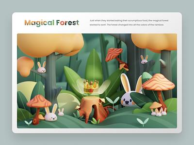 Magical Forest - 3D Illustration homepage uidesign header uiux landing page ui blender 3d illustration 3d render hero illustration illustration