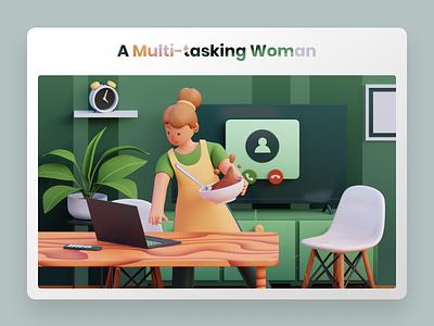 A Multi-tasking Woman - 3D Illustration green branding design 3d homepage header uiux uidesign hero illustration illustration