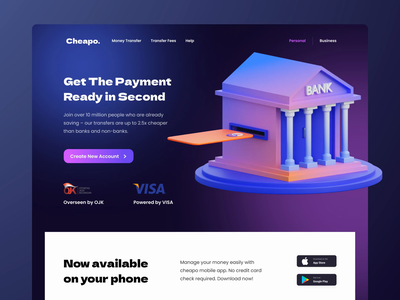 Cheapo - Digital Banking 3D Exploration isometric illustration homepage 3d header hero illustration website landing page landing gateway payment digital bank bank