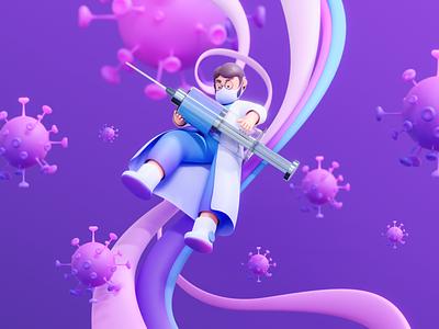Pedulivac - Vaccination Program 3D Illustration purple character virus covid hospital doctor healthcare cinema4d blender 3d branding design header website hero illustration landing page illustration