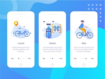Bysikil Bike Sharing App - Onboarding parking mobile app bike illustration onboarding screen onboarding ux ui