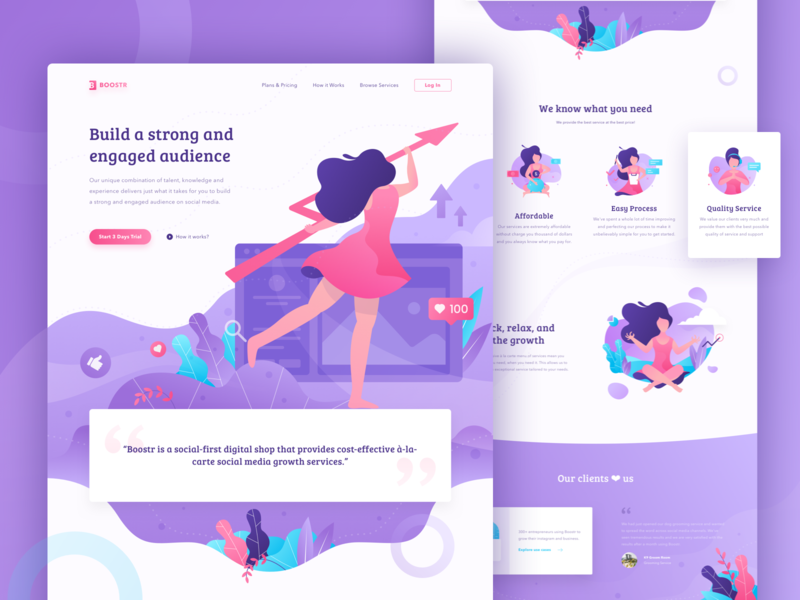 Boostr - Social Media Engagement Booster Landing Page header illustration social media character header website web ui landing page trend 2018 purple pink girl illustration