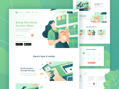 Yursayur - Food and Grocery Delivery Landing Page web uidesign uiux delivery service grocery food character illustration hero illustration green ui website header landing page illustration