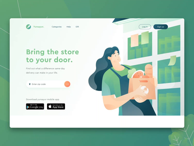 Yursayur - Food and Grocery Delivery Landing Animation adobe xd principle auto animate header page illustration landing page header website ui green hero illustration character illustration food grocery delivery service uiux uidesign web