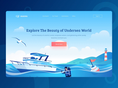 Marina - Scuba Diving and Eco Travel Booking Website website web uiux uidesign ui landing page hero illustration header illustration character blue ocean