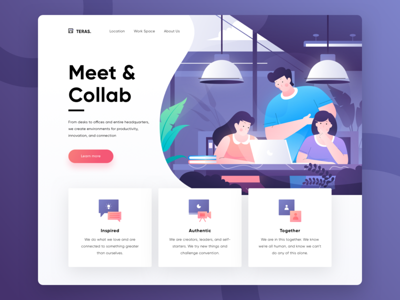 Teras, Coworking Space & Cafe Landing Page Exploration header page header purple meetup collaboration coworking space booking hero illustration uidesign uiux ui web website landing page illustration