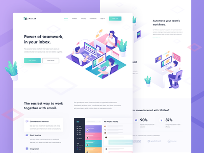 Mailea - Email Collaboration Tool Landing Page homepage web 3d ui team collaboration email app uidesign hero illustration isometric uiux website landing page illustration
