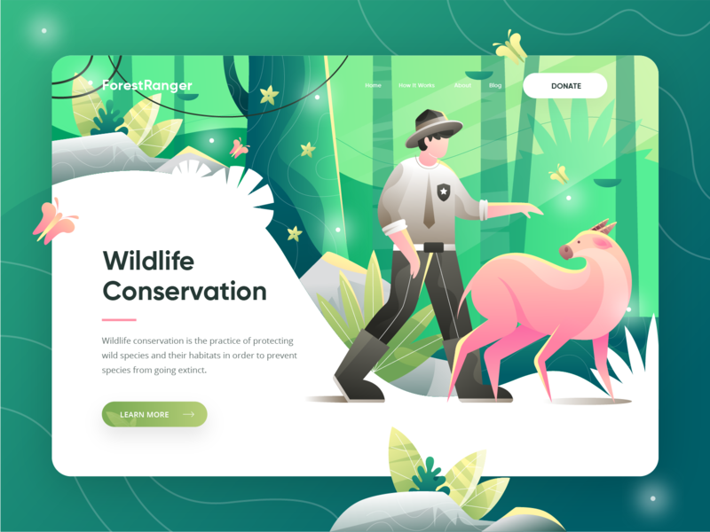ForestRanger - Animal Conservation Landing Page jungle forest green adobe illustrator sketch donation uiux ui header animal illustration animal conservation animal homepage hero illustration website landing page illustration