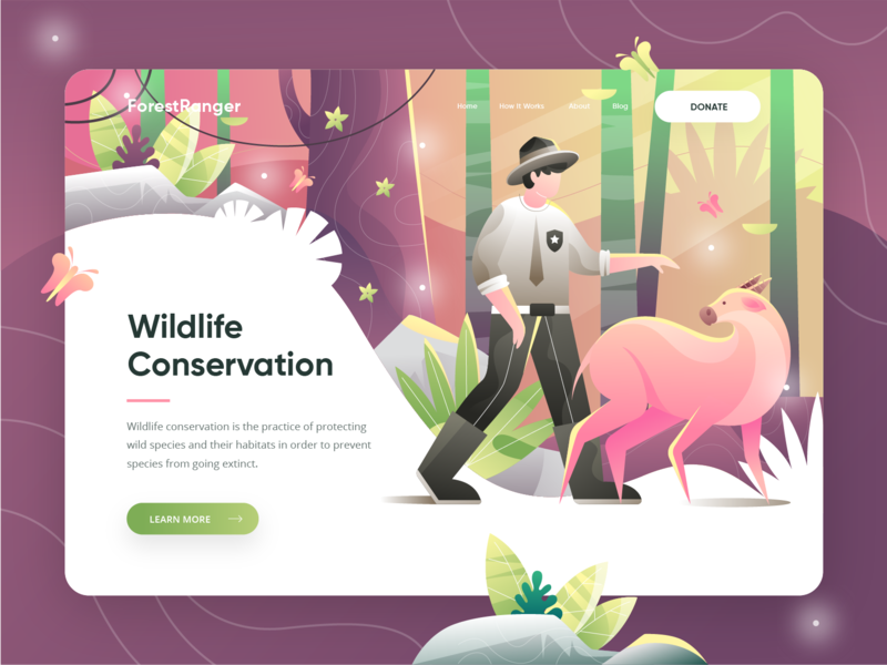 ForestRanger V2 - Animal Conservation Landing Page website uiux ui sketch landing page jungle homepage hero illustration header savana orange green forest donation illustration animal conservation animal illustrator adobe
