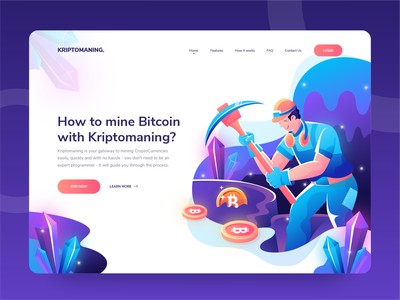 Kriptomaning - Cyprtomining Header Illustration Concept vector uidesign blue purple flat design crypto exchange cryptocurrency crypto wallet flat illustration character homepage uiux web hero illustration website landing page header ui illustration