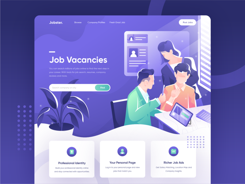 Jobster - Search Millions of Jobs Online Website Concept illustration ui header landing page website uiux hero illustration web uidesign homepage purple collaboration flat characters adobe illustrator vector jobs people business