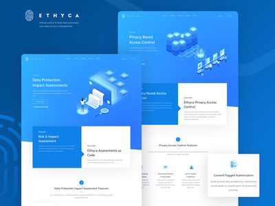 Ethyca Cloud Data Privacy Use Cases Page website uidesign 3d blue web web design user ui privacy management landing page isometric infrastructure illustration homepage enterprise data driven data code cloud