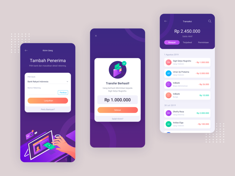 IniBank - Mobile Banking App Concept 3d ux purple mobile ui minimal mobile banking banking bank design branding mobile design mobile app mobile uidesign vector isometric hero illustration uiux ui illustration