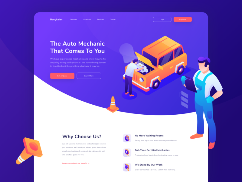 Bengkelan - Auto Repair at Your Home Header Website character car repair car orange sketch adobe illustrator purple 3d isometric web hero illustration uiux header website ui landing page illustration