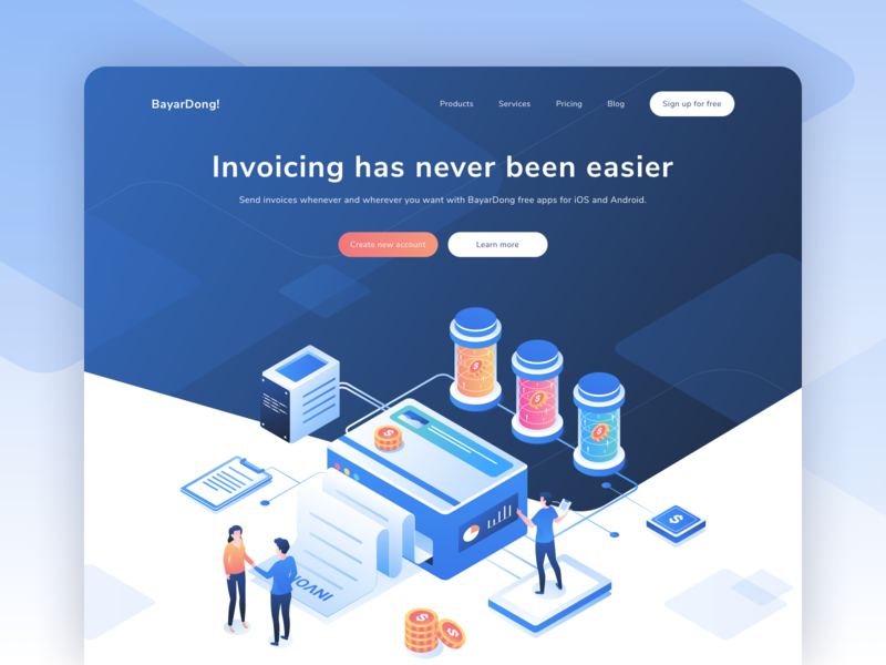 BayarDong - Create Professional Invoice Online Header Website adobe illustrator web 3d hero illustration uiux header website ui landing page isometric illustration illustration blue isometric