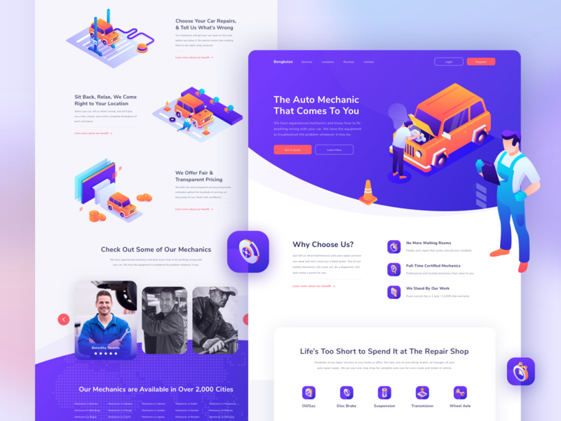 Bengkelan - The Auto Mechanic That Comes To You Website Concept adobe illustrator mechanics character purple insurance repair car uidesign 3d isometric web hero illustration uiux header website landing page ui illustration