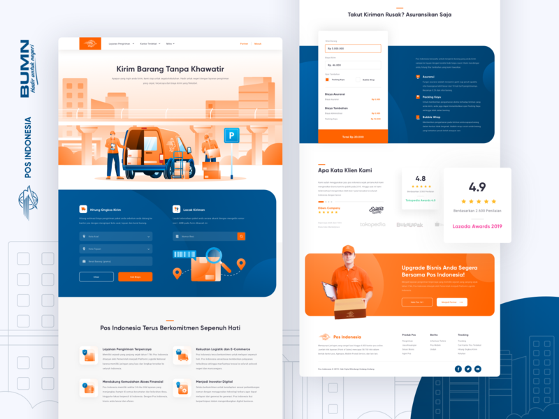 Pos Indonesia Landing Page Exploration postal service pos indonesia package business company shipping courier orange uidesign hero illustration uiux website ui landing page illustration delivery