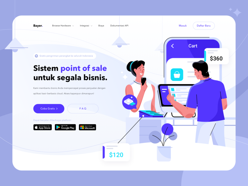 Bayer - Point of Sale Website Header Exploration branding design purple hero illustration flat payment ecommerce pos point of sale website ui landing page illustration